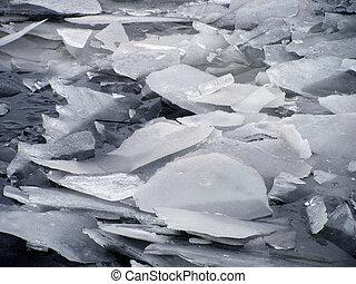 broken ice on river