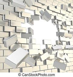 Broken into pieces brick wall with a copyspace hole
