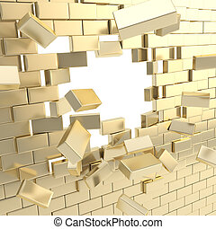 Broken into pieces golden brick wall with a copyspace hole in center