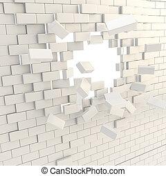 Broken into pieces brick wall with