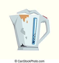 Broken kettle, damaged home appliance cartoon vector Illustration on a white background