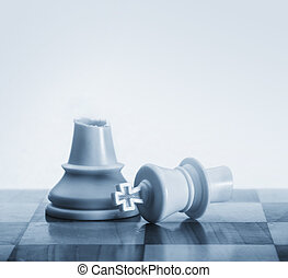 Broken king chess piece