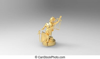 Broken lady of justice 3d rendering - Justice and law symbol...