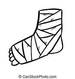 Broken leg cast doodle. Injured limb in gypsum plaster. ...