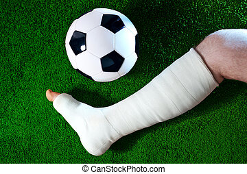 Broken leg - Football player with broken leg.