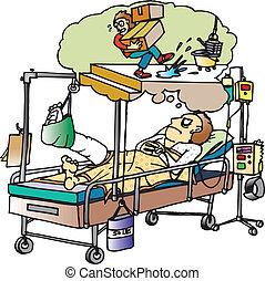broken leg - man in  hospital bed with cast on leg