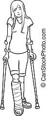 broken leg outline - illustration of Girl with a broken leg