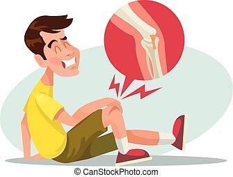 Broken leg. Vector flat illustration