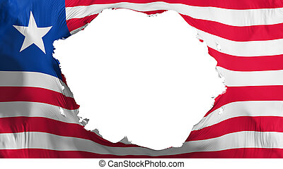Broken Liberia flag, white background, 3d rendering
