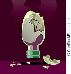 Broken light bulb. Bad idea. Rejected invention.  Vector flat cartoon illustration
