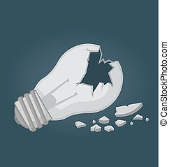 Broken light bulb. Destroyed idea.