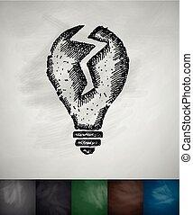 broken light bulb icon