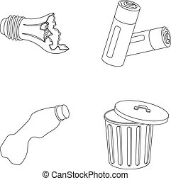 Broken light bulb, used batteries, breaking a plastic bottle, garbage can with a sign.Garbage and trash set collection icons in outline style vector symbol stock illustration web.