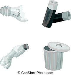 Broken light bulb, used batteries, breaking a plastic bottle, garbage can with a sign.Garbage and trash set collection icons in monochrome style vector symbol stock illustration web.