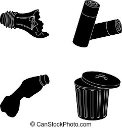 Broken light bulb, used batteries, breaking a plastic bottle, garbage can with a sign.Garbage and trash set collection icons in black style vector symbol stock illustration web.