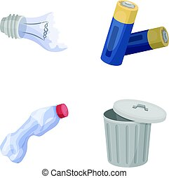 Broken light bulb, used batteries, breaking a plastic bottle, garbage can with a sign.Garbage and trash set collection icons in cartoon style vector symbol stock illustration web.