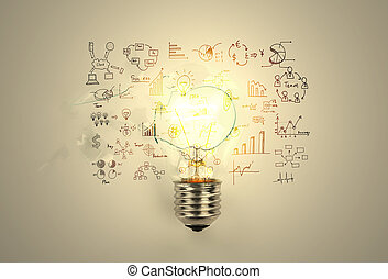 Broken light bulb with drawing graph