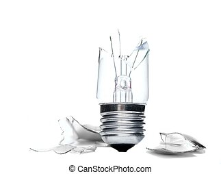 Broken lightbulb with fragments isolated on white