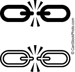 Broken Link Icon, Broken Chain Link Design