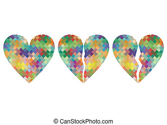 Broken love heart mosaic abstract background concept illustration vector for poster