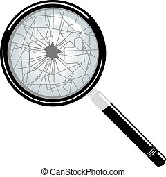broken magnifying glass vector isolated on white background