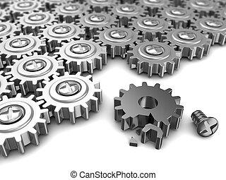 broken mechanism - abstract 3d illustration of gear wheels...
