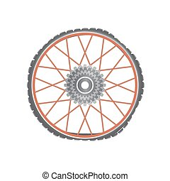 Broken metallic bicycle wheel with red spokes