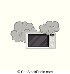 Broken microwave oven with smoke, damaged home appliance vector Illustration on a white background