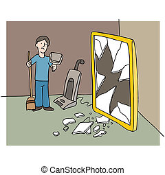 Broken Mirror - An image of man cleaning up mess from a...