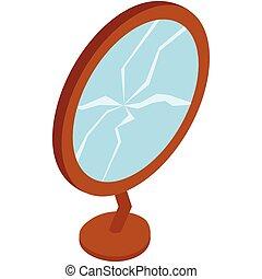 Broken mirror icon, isometric 3d style
