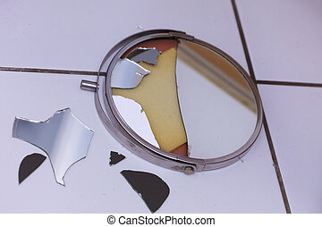 Broken mirror lying on ground - Destruction, low self...