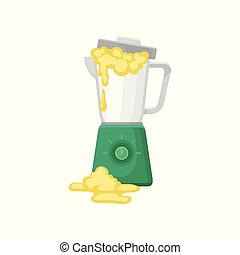 Broken mixer, damaged home appliance vector Illustration on a white background