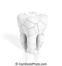 Broken molar tooth isolated on white background