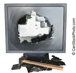 broken monitor, glass shards and hammer isolated on white...