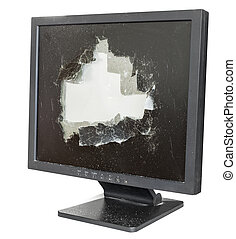 broken monitor with damaged glass screen isolated on white background