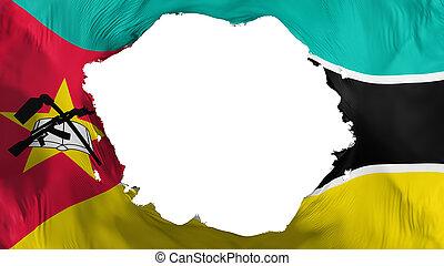 Broken Mozambique flag, white background, 3d rendering