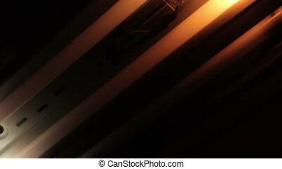 Broken old fluorescent bulds flashing, HD