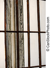 broken old window with grid and wooden frame