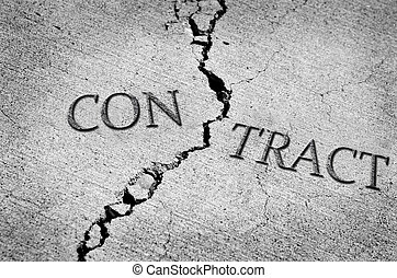 Broken or Breached Contract - Cracked cement symbolizing a...