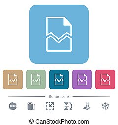 Broken page flat icons on color rounded square backgrounds