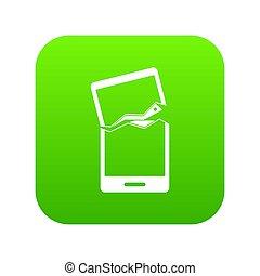 Broken phone icon digital green