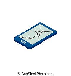 Broken phone icon, isometric 3d style
