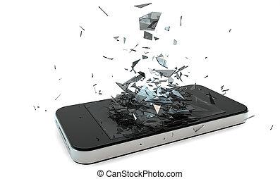broken phone - render of a broken smart phone