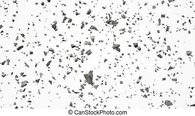 Broken pieces of stones flying in air
