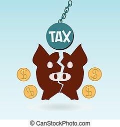 Broken piggy bank, dollar coin, tax ball