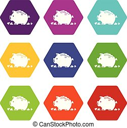 Broken piggy bank icons set 9 vector