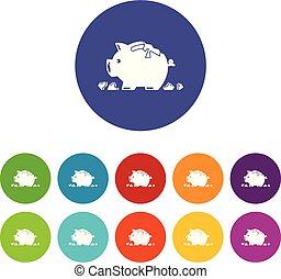 Broken piggy bank icons set vector color