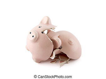 Broken piggy bank on white background with clipping path