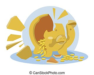 Broken piggy bank pig with coins and shards. Isolated on a white background. In minimalist style. Cartoon flat vector