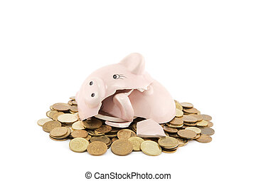 Broken piggy bank with coins on white background with clipping path